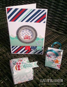 Karte, Box und Strandtasche mit einem Stempelset Stempelset: Sea Street Farben: Glutrot, Petrol, Jade, Flüsterweiss, Orangentraum, Himmelblau Stampin'Up