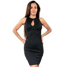 Silver Crew Neck Body Bandage Black Dress with front cutout Look and feel sexy in this gorgeous Silver Crew Neck Body Bandage Black Dress, get all the right curves wearing this body fitting dress with front cutout. $76.65