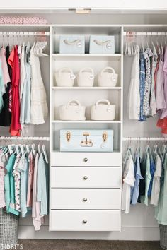 8 Kids Closet Organization tips to help this space look, feel and function better. : 8 Kids Closet Organization tips to help this space look, feel and function better. Kid Closet, Closet Bedroom, Closet Dresser, Ikea Bedroom, Closet Drawers, Bedroom Furniture, Dresser Shelves, Dresser Ideas, Bathroom Closet