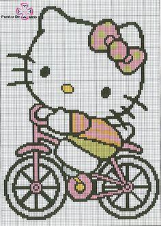 Nopodíafaltar Hello Kitty en bicicleta para bordar en punto de cruz.