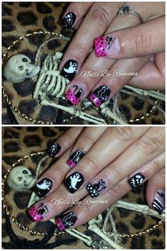 Acrylic nails with halloween nail art. Nails By Ramona
