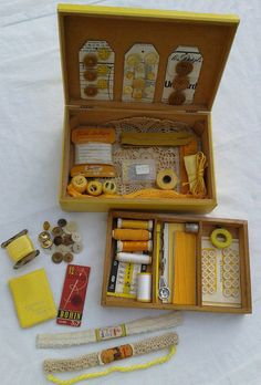 French Vintage Sewing Box Full of Yellow by FrenchVintageTextile, €68.00