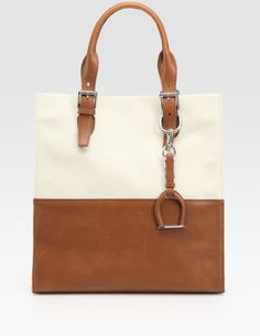 Ralph Lauren Collection Brown Canvas & Leather North/South Tote
