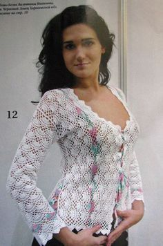 White crochet jacket ♥LCT♥ with diagrams