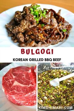 Bulgogi is Korean's most famous BBQ beef dish. Marinade and grill on the pan, bbq or in the oven. Ma Bulgogi is Korean's most famous BBQ beef dish. Marinade and grill on the pan, bbq or in the oven. Marinade ahead for parties. Beef Bourguignon, Korean Grill, Korean Beef Marinade, Korean Bbq At Home, Korean Tacos, Korean Dishes, Asian Cooking, Beef Dishes, Kimchi