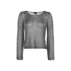 TopShop Metal Yarn Flute Sleeve Top ($40) ❤ liked on Polyvore featuring tops, gunmetal, cut-out crop tops, topshop tops, textured crop top, metal top and cropped tops