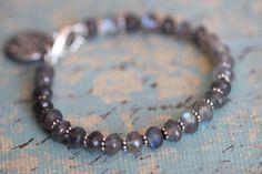 Labradorite Bracelet, 7mm, Beaded Bracelet, Gemstone Bracelet, Tennis Style Bracelet, Gemstone Bracelet, Sterling Silver Botanical Charm