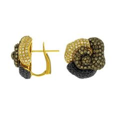 Ladies White, Brown, and Black Diamond Earring in 14K Yellow Gold (TCW   4.28).