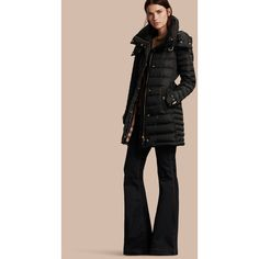 Burberry Down-filled Puffer Coat with Packaway Hood featuring polyvore women's fashion clothing outerwear coats down filled puffer coat pink coat pink puffer coat hooded coat quilted coat