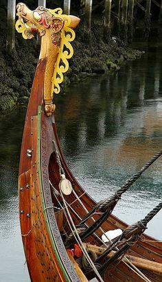 "Norwegian Viking ""DragonShip"" replica, Drekinn Haraldur Hárfagri, comes to visit  Reykjavík, Iceland. http://www.mbl.is/frettir/innlent/2016/05/10/drekinn_kominn_til_reykjavikur/"