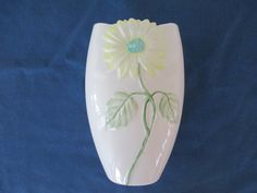 Vintage Nantucket Porcelain Yellow Daisy Vase Home by BitofHope