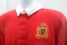 Lauren-Jeans-Company-Ralph-Lauren-Long-Sleeve-Polo-Large-Crest-Red-Size-XL-Youth