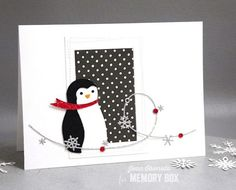 Penguin Collage, Wrapped Stitch Rectangles and Snowflake Wire by Jean Okimoto (Outside The Box - Dave Beathauer) Memories Box, Kunst Shop, Holiday Cards, Christmas Cards, Memory Box Cards, Collage Making, Red Scarves, Winter Christmas, Penguins