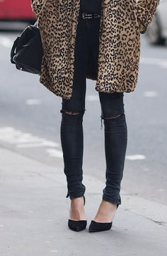 leopard coat + denim + heels.