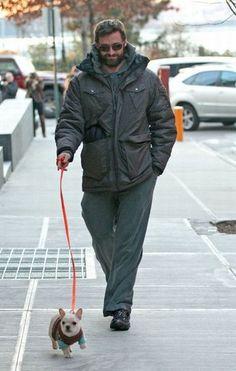 Hugh Jackman and his dog
