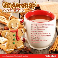 Gingersnap Protein Shake Recipe from USA Flag Co. Run Run as fast as you can. You can't catch me, I'm the Gingerbread Man! Try this delicious Gingersnap Protein Shake Recipe to stay fit during the holidays! Protein Smoothies, Protein Snacks, Pancakes Protein, Protein Mix, Making Smoothies, Healthy Protein, Healthy Sweets, Fruit Smoothies, Healthy Drinks