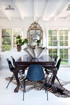 dining area: eclectic mix of antique & modern