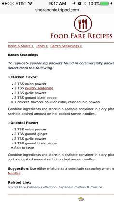 DIY instant ramen seasoning: rnrnSource by shandalathoene Homemade Ramen, Homemade Spices, Homemade Seasonings, Healthy Ramen, Vegan Ramen, Vegan Sauces, Ramen Soup, Ramen Noodles, Ramen Recipes