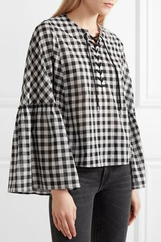 McQ Alexander McQueen | Lace-up gingham cotton-voile top  | NET-A-PORTER.COM
