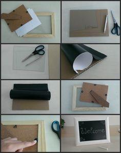 Kreidetafel im Bilderrahmen DIY