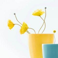 Schöner Dekozweig mit gelbem Mohn zum ausdekorieren von Vasen und Schalen. English, Yellow, Life, Color, Fake Flowers, Branches, Poppy, Vases, Decorating