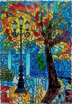 Мастер-класс по витражной росписи: Пейзаж. Вечерний парк