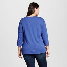 Women's Plus Size 3/4 Sleeve T-Shirt - Ava & Viv Sporty Blue 2X