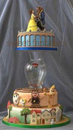 bolo decorativo da Bela e a Fera