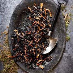 Adult Halloween Party Food - Worms in Dirt (Hijiki Salad)