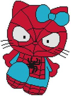 Cross Stitch Knit Crochet Plastic Canvas Waste Canvas Rug Hooking and Bead Work Pattern Hello Kitty as Spider-Man.  https://www.pinterest.com/resparkled/