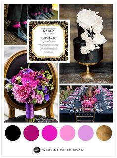Black is the perfect backdrop for pops of color. Gold brings an elegant look to a table scape, cake and wedding invitation. An invitation can give guests a sneak peek into a bold, formal wedding.