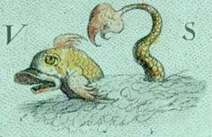 Sea Monster detail from map. Christopher Saxton: Cornwall London, 1579.
