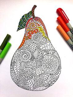 Pear PDF Zentangle Coloring Page por DJPenscript en Etsy Fall Coloring Pages, Mandala Coloring Pages, Coloring Books, Mandala Design, Mandala Art, Dibujos Zentangle Art, Zentangle Patterns, Doodle Art, Colored Pencils
