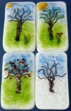 Glass paintings set Four Seasons by GeckoGlassDesign on Etsy, $295.00