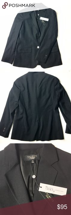 🆕 Talbots Petite Grace Blazer Details: Talbots Blazer in black that is an essential for any professional women. Flattering fit, slight shoulder padding, two front pockets and buttons, made of wool with polyester lining. Size 6Pin NWT (new with tags) condition. Retail $199.   Kate Harrington Boutique does not trade or negotiate price in the comment section. However, for most items we may consider reasonable offers.   Happy Poshing! Talbots Jackets & Coats Blazers