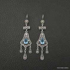 UNIQUE BLUE TOPAZ FILIGREE STYLE 925 STERLING SILVER GREEK HANDMADE EARRINGS #IreneGreekJewelry #Chandelier