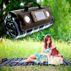 Manta de picnic con altavoces para móvil y MP3