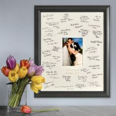 Personalized Laser Engraved Wedding Wishes Signature Frame is a new spin on the old-fashioned guest book, the Personalized Laser Engraved Wedding Wishes Signature Frame puts their good wishes where you can see them.  Guests add their signatures and sentiments to the photo mat and couples insert their favorite wedding photo for a memorable tribute to that special day. Bride and groom's names and wedding date are laser etched into the photo mat.