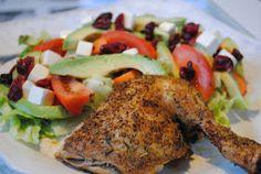 Anne's hyggested: Græsk kylling og grøn salat med avocado+tranebær Avocado, Chicken, Food, Lawyer, Eten, Meals, Cubs, Kai, Diet