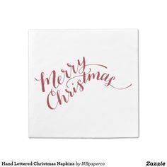 Hand Lettered Christmas Napkins