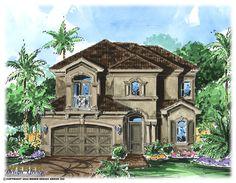 Narrow Lot House Plans   Ravello House Plan   Florida House Plan - Weber Design Group