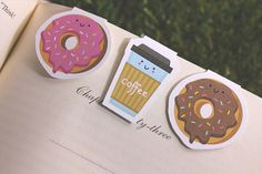 Donut + Coffee Break Magnet Bookmarks Pack of 3, Magnetic, Cute, Quirky, Food, Donuts, Bookmarks, Kawaii.