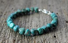 genuine Kingman turquoise bracelet with sterling by TheSpiralRiver