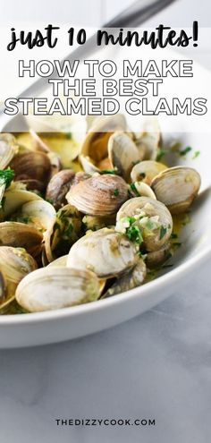 How to make the best steamed clams in under 10 minutes! This step by step tutorial for washing clams gives all the details you need to make this great summer seafood recipe. With shallots, herbs, and a butter broth, there's no alcohol or wine in this clam recipe. Mixed Seafood Recipe, Seafood Boil Recipes, Clam Recipes, Seafood Appetizers, Shellfish Recipes, Seafood Dinner, Fish And Seafood, Cooking Recipes, Healthy Recipes