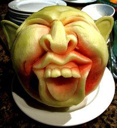 Watermelon carving, goblin, gargoyle, fantasy