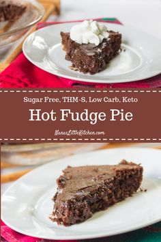 Sugar Free Hot Fudge Pie via nanaslilkitchen Desserts Keto, Sugar Free Desserts, Sugar Free Recipes, Just Desserts, Low Carb Recipes, Delicious Desserts, Dessert Recipes, Sugar Free Fudge, Flour Recipes