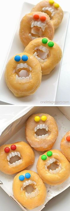 These Halloween monster donuts are an awesome treat idea! They take less than five minutes to make and will most likely make someone laugh… or freak them out. But I think I'd be happy with either one of those outcomes! Halloween Donuts, Halloween Snacks For Kids, Halloween Birthday, Halloween Treats, Spooky Halloween, Fall Recipes, Holiday Recipes, Donut Party, Dessert