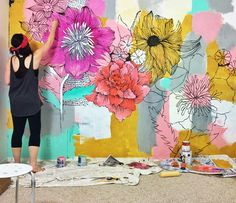 Alisaburke Change A Room With Paint And Creativity Alisa Burke Painting Mural Mural Painting, Mural Art, Wall Art, Wall Paintings, Faux Painting, Painting Furniture, Framed Wall, Diy Wall, Flower Mural