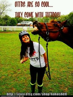 Off-the-track Thoroughbreds are so cool that they come with tattoos! #OTTB #RetiredRacehorsesRule