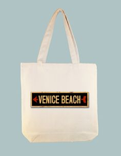 Venice Beach Vintage Directional Arrow 15x15 Canvas Tote -- larger zip top tote style available